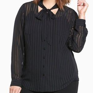 Torrid Shadow Stripe Pullover Blouse Black Popover